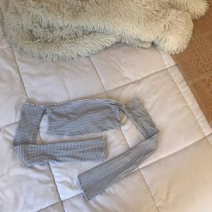 Urban Outfitters off the shoulder striped crop top